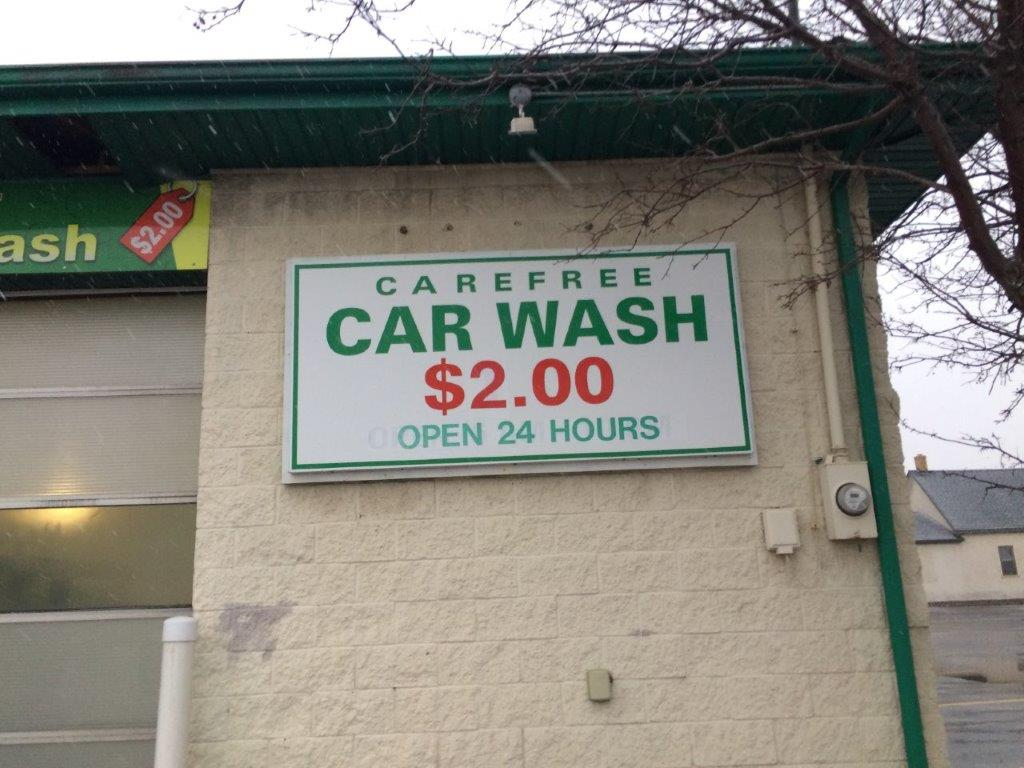 Carefree Car Wash Pricing Sign