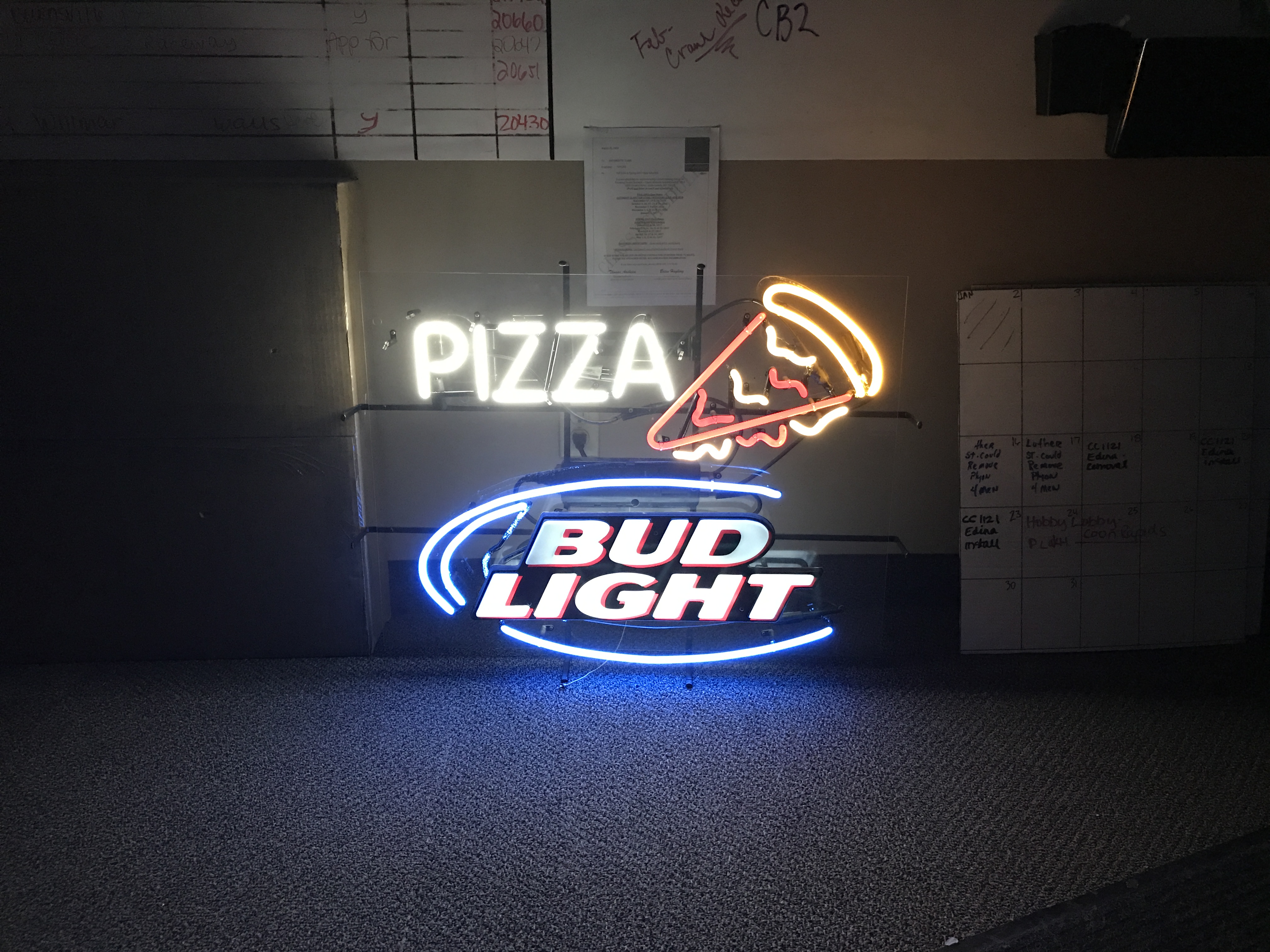 Pizza & Bud Light Neon Sign